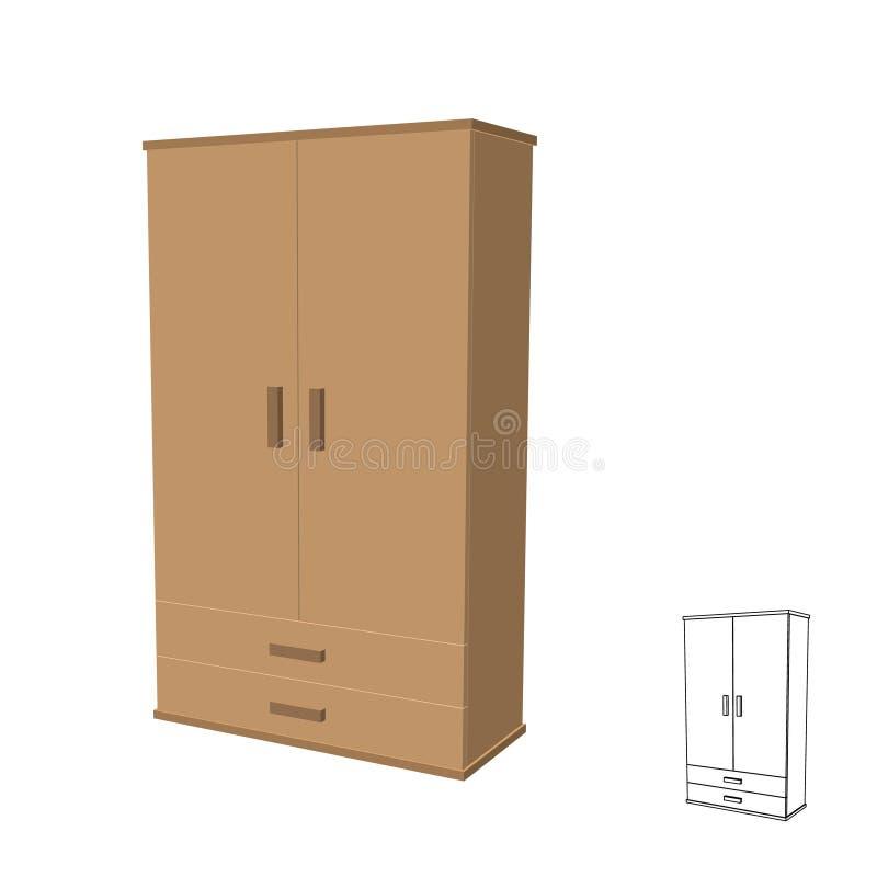 Moderne Garderobe Getrennt auf weißem Hintergrund Vektor 3d illustr lizenzfreie abbildung