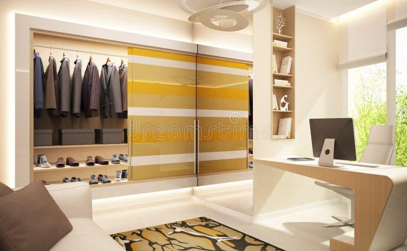 Moderne Garderobe nahe dem Spiegel im Büro stockfotografie