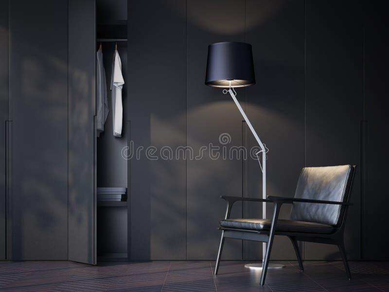 Moderne garderoberuimte met zwarte leerstoel het 3d teruggeven royalty-vrije illustratie