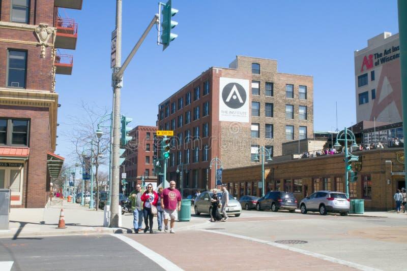 Moderne Gebäude in der Stadt von Milwaukee, ein Geschäftsgebiet stockfotos