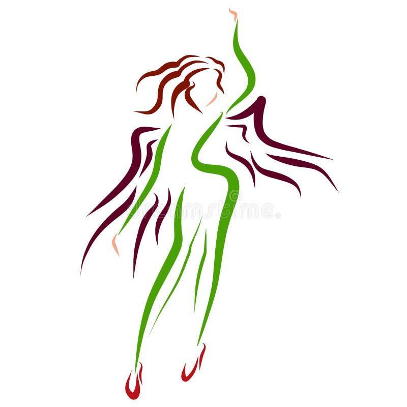 Moderne geflügelte, schlanke Frau in den Stöckelschuhen, Logo stock abbildung