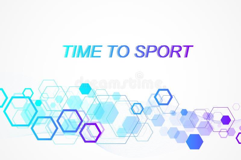Moderne gekleurde sportachtergrond Abstract ontwerp met lijnen, stroomgolf, zeshoek, hexuitdraai voor uw ontwerp Het concept van  royalty-vrije illustratie