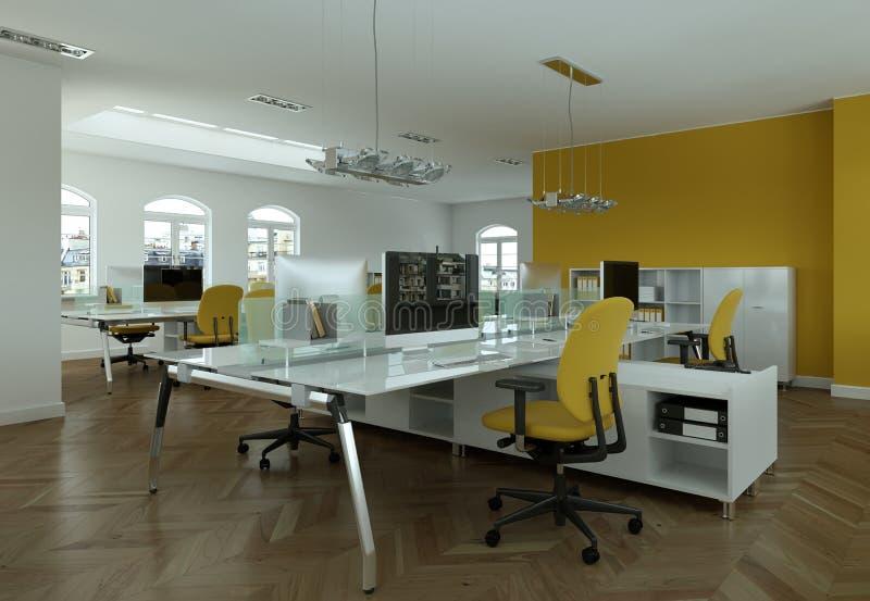 Moderne gelbe Büro Wiedergabe Innenarchitektur 3d lizenzfreie abbildung
