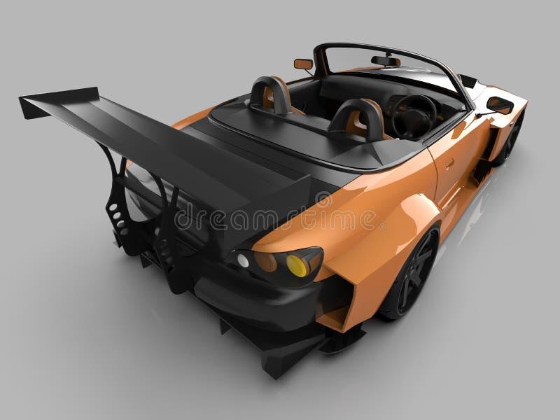 Moderne gele convertibele sporten Open auto met het stemmen het 3d teruggeven royalty-vrije illustratie