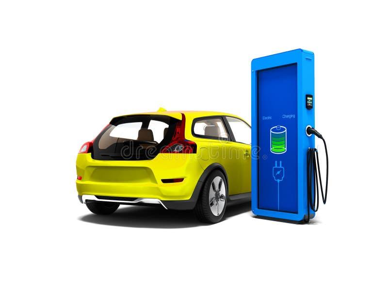 Moderne gele elektrische auto met kolom voor het bijtanken elektriciteit vector illustratie