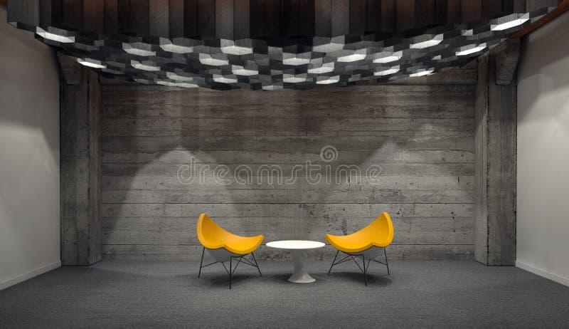 Moderne Gele Stoelen en Kleine Witte Lijst in Zaal royalty-vrije illustratie