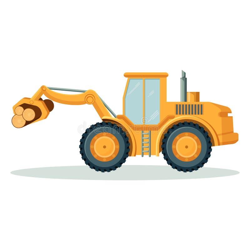 Moderne gele tractor die zware logboeken geïsoleerde illustratie draagt royalty-vrije illustratie