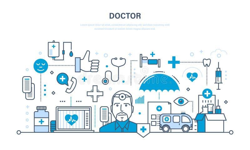 Moderne geneeskunde, arts en speciale hulpmiddelen, de atmosfeer en het materiaal stock illustratie
