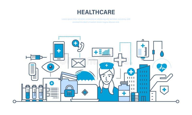 Moderne geneeskunde en het gezondheidszorgsysteem, speciale hulpmiddelen, materiaal stock illustratie