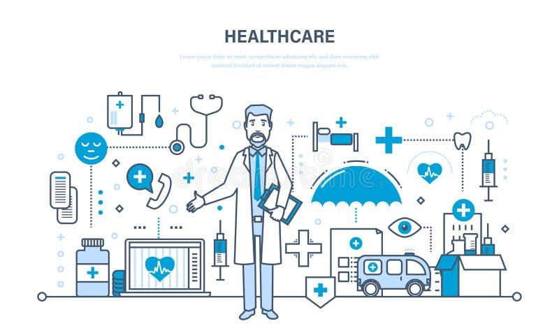 Moderne geneeskunde, gezondheidszorgsysteem, arts en speciale hulpmiddelen, materiaal royalty-vrije illustratie