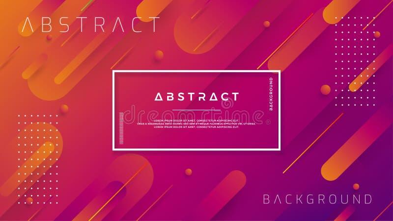 Moderne geometrische achtergronden met de in samenstellingen van de kleurengradatie Dynamische achtergrond met oranje en purpere  stock illustratie