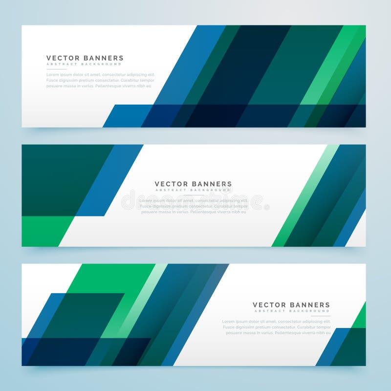 Moderne geometrische blauwe en groene bedrijfsstijlbanners vector illustratie