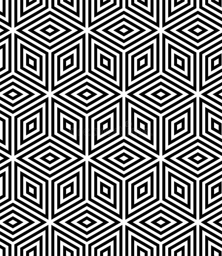 MODERNE GEOMETRISCHE GESTREEPTE KUBUS In naadloos vectorpatroon OPTISCHE KUNSTillusie royalty-vrije illustratie