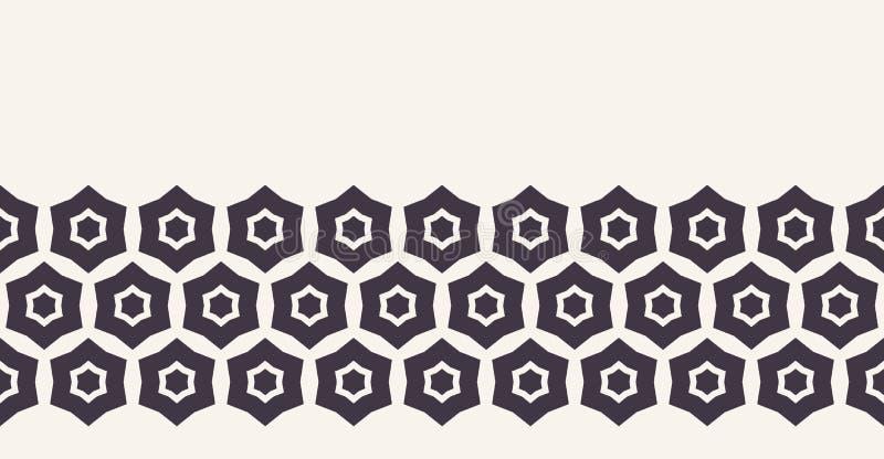 Moderne geometrische hand getrokken hexagon mosaic border Herhaling van abstracte koolstofafwerking Ornamental monochrome geo Tre royalty-vrije illustratie