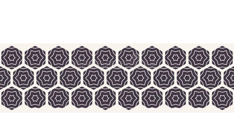 Moderne geometrische hand getrokken hexagon mosaic border Herhaling van de slingerlint Ornamental monochrome geo Trendy etnisch a royalty-vrije illustratie