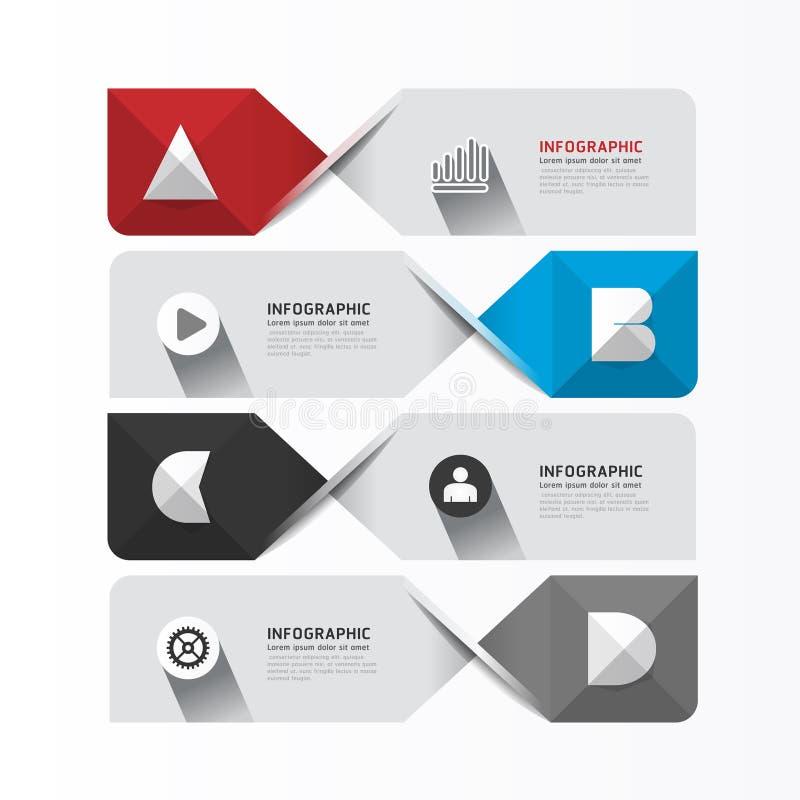 Moderne geometrische Infographics-Designschablone/-fahnen. lizenzfreie abbildung