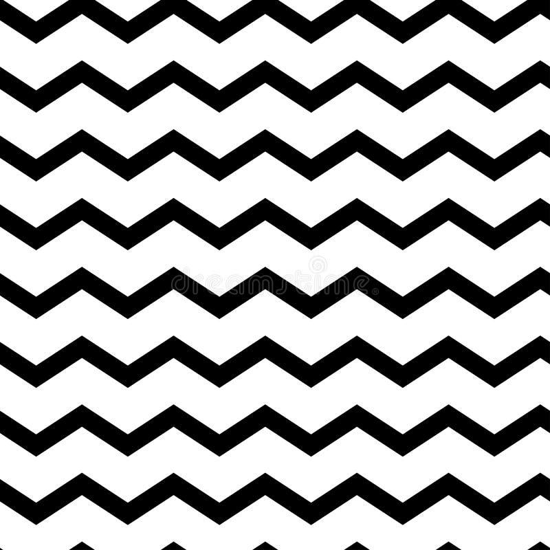 Moderne geometrische naadloze patroonzigzag Zwarte golven Klassieke gestreepte retro achtergrond Vector illustratie stock illustratie