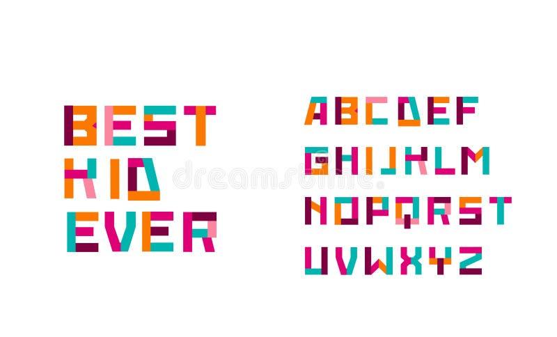 Moderne geometrische, spielerische Schriftart und Alphabet Bester Typ stock abbildung