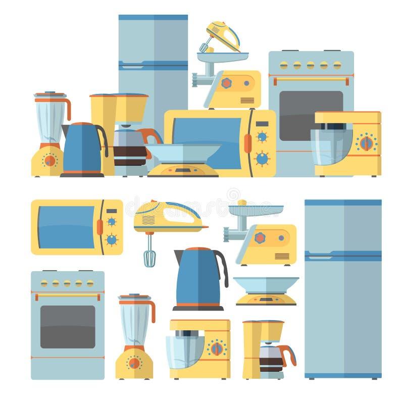 Moderne geplaatste keukentoestellen Vectorillustratie in vlak stijlontwerp Microgolf, pot, koelkast, oven vector illustratie