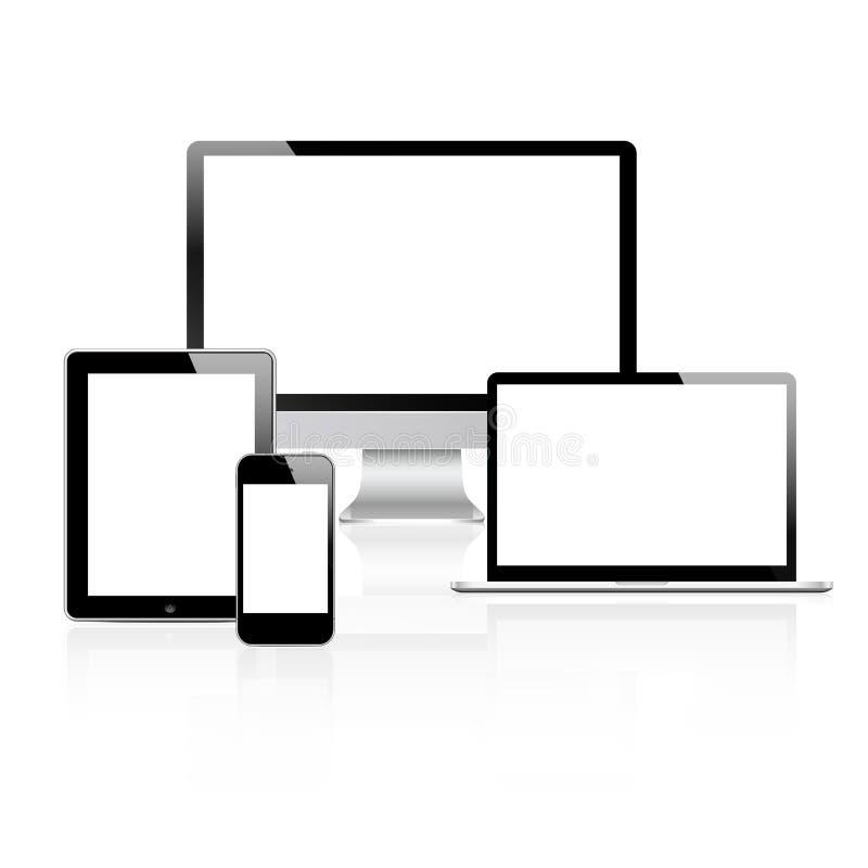Moderne geplaatste tehnologyapparaten vector illustratie
