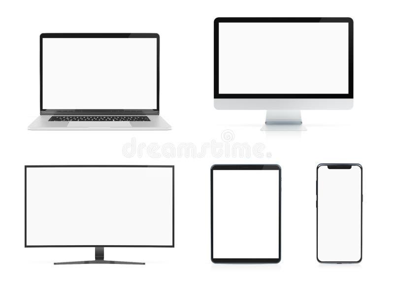 Moderne Geräte mit der SmartphoneLaptop-Computer und Tablette lokalisiert auf weißer Wiedergabe des Modells 3D lizenzfreie abbildung