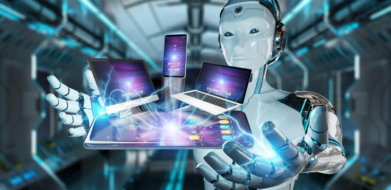 Moderne Geräte schlossen Wiedergabe in der Roboterder hand 3D an lizenzfreie abbildung
