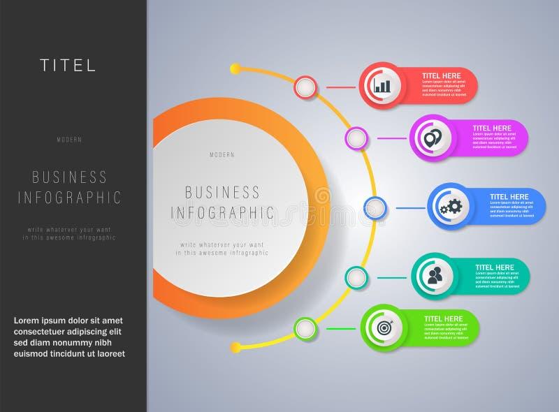 Moderne Geschäft infographics Schablone mit Aufkleber des Papiers 3d lizenzfreie abbildung