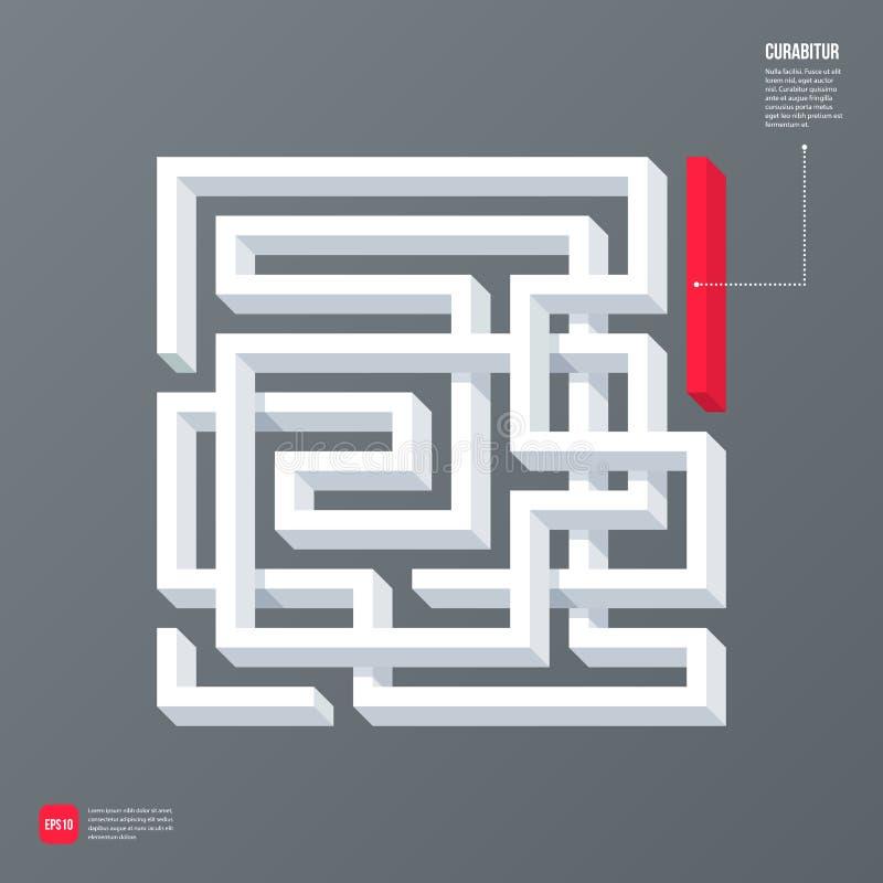 Moderne Geschäftsschablone mit abstraktem Gestaltungselement 3d in einer Form eines Labyrinths auf grauem Hintergrund lizenzfreie abbildung