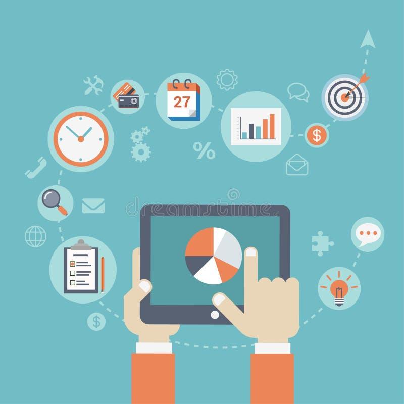 Moderne Geschäftsstrategie der flachen Art, die infographic Konzept plant stock abbildung