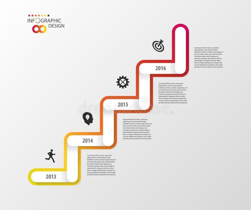 Moderne Geschäftstreppenschritte zu den Erfolgswahlen Infographic Entwurf vektor abbildung