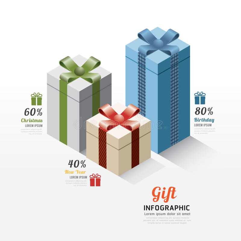 Moderne Geschenkbox infographics Elemente Design-Vektor illustratio vektor abbildung