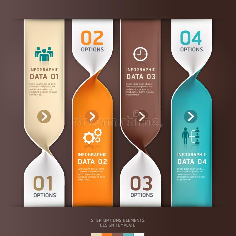 Moderne gewundene infographics Wahlfahne. vektor abbildung