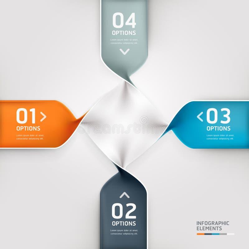 Moderne gewundene infographics Wahlfahne. stock abbildung
