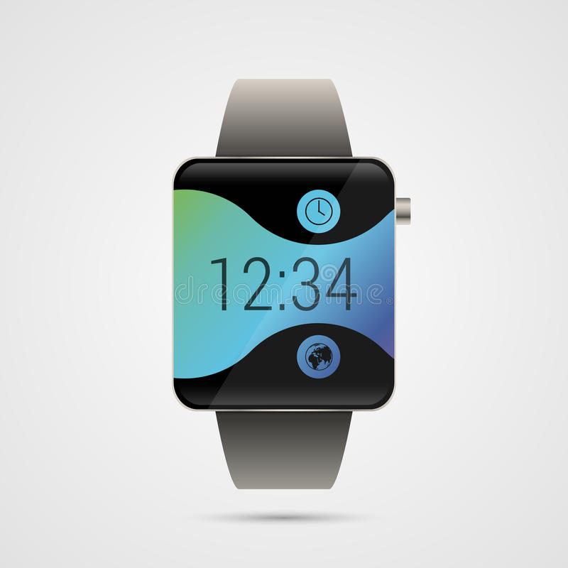 Moderne glänzende intelligente Uhren mit Knöpfen und Welle Auch im corel abgehobenen Betrag lizenzfreie abbildung