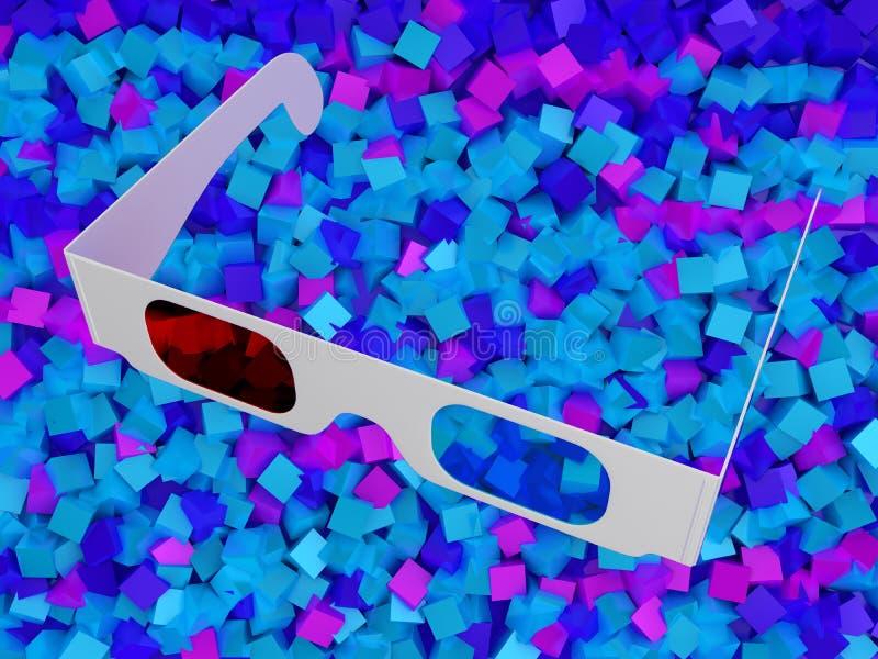 Moderne Gläser des Kinos 3D auf bunten Würfeln vektor abbildung