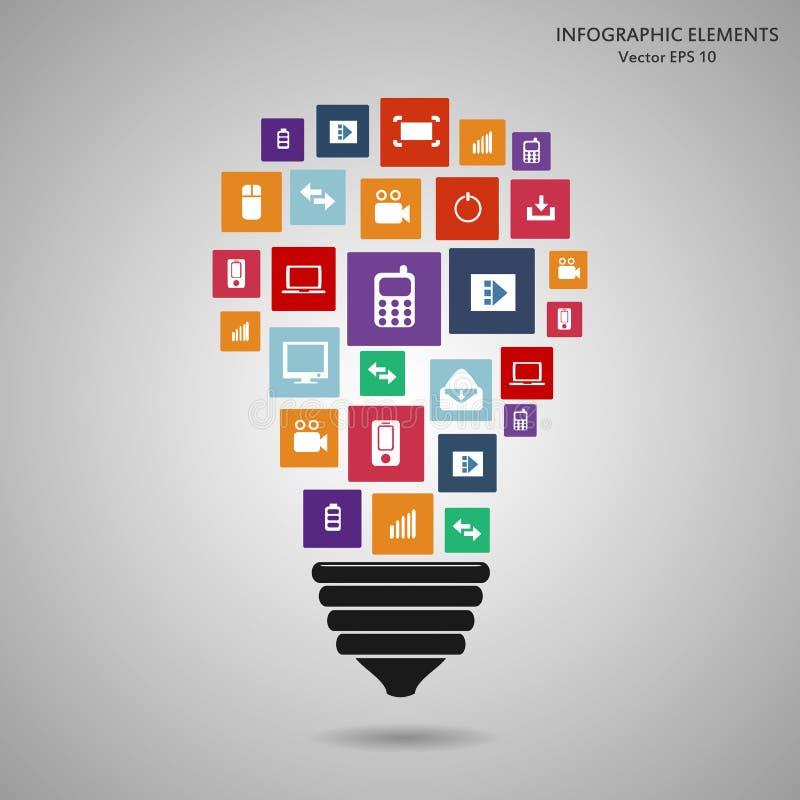 Moderne Glühlampe mit Wolke der bunten Anwendungsikone Kreatives Schablonendesign der Vektorillustration, Geschäft stock abbildung