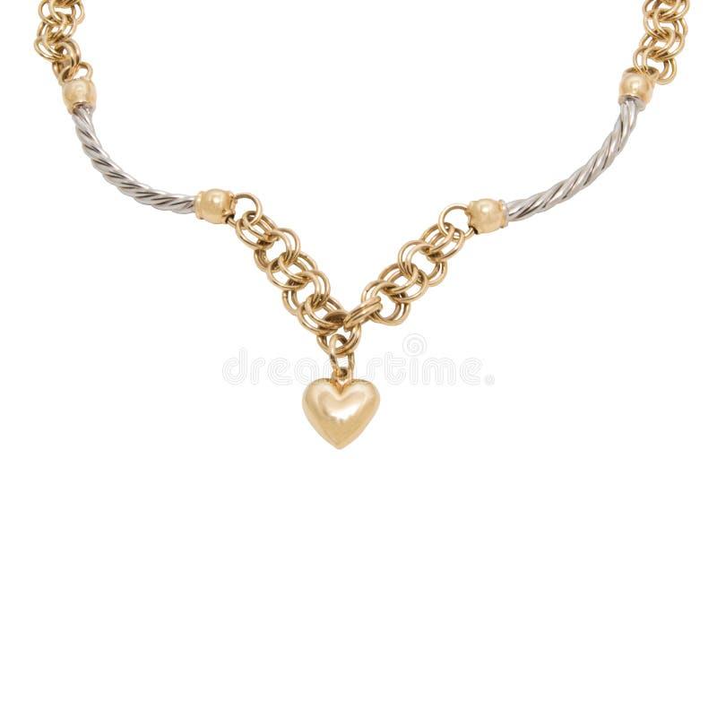 Moderne goldene Halskette mit Herzformanhänger stockfoto