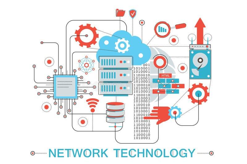 Moderne grafische flache Linie Designart infographics Konzept der Technologie des globalen Netzwerks mit Ikonen, für Website stock abbildung