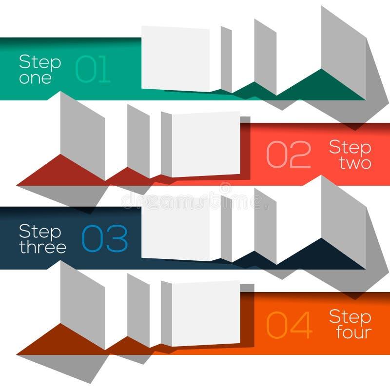 Moderne grafische gestileerde het malplaatjeorigami van de ontwerpinformatie stock illustratie