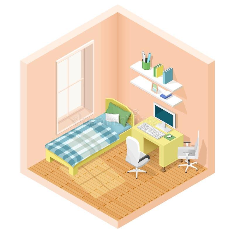 Moderne grafische isometrische ruimte met bed en werkplaats Isometrische meubilairpictogrammen Vector illustratie vector illustratie