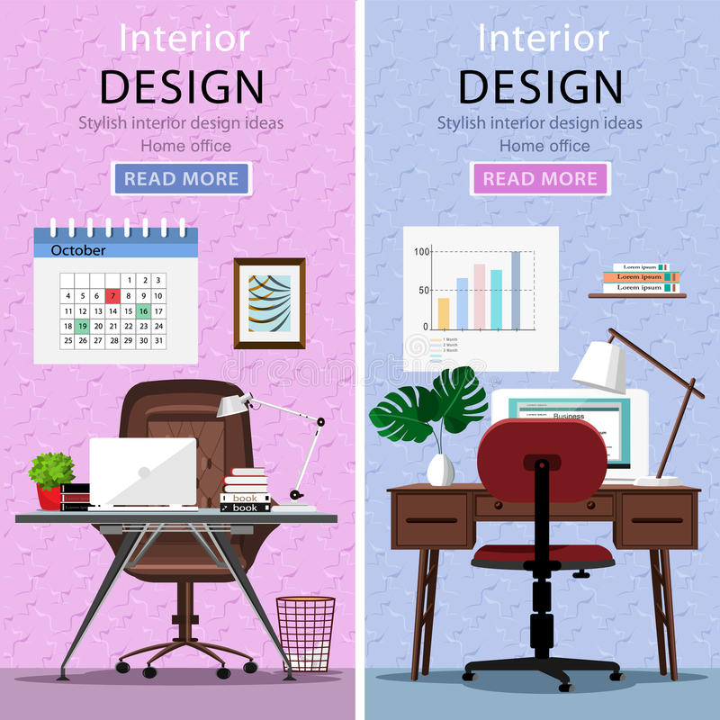 Moderne grafische werkplaatsen met lijst, bureaustoel, lamp en laptop vector illustratie