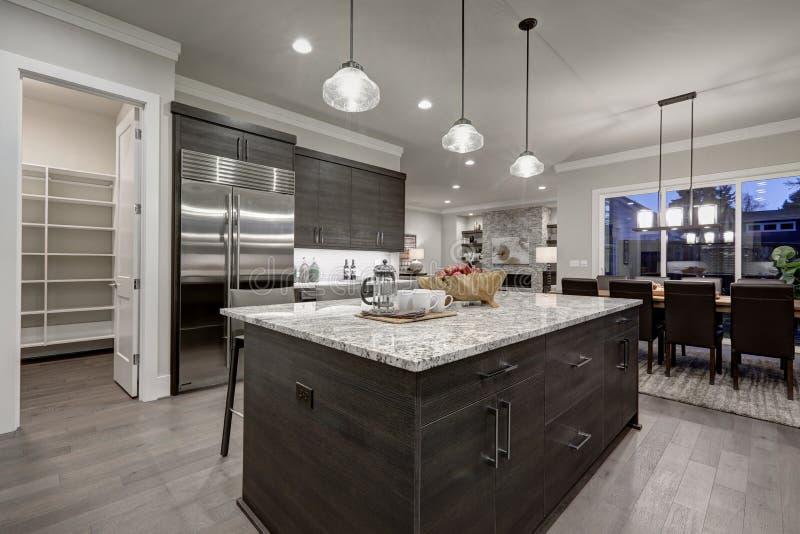 Moderne graue Küche kennzeichnet dunkelgrauen Cabinetry stockfotos