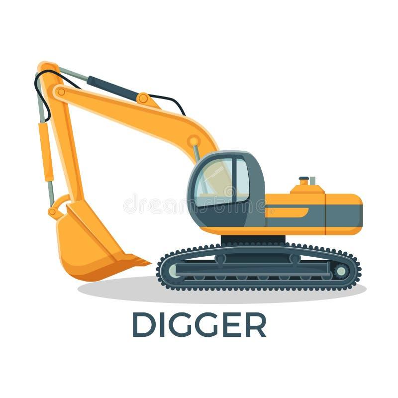 Moderne graver met rond cabbint en reusachtige gietlepel vector illustratie