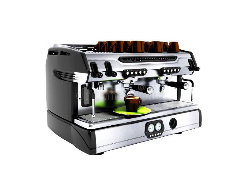 Moderne grijze koffiemachine voor twee mokken voor professionele het werkwi stock illustratie