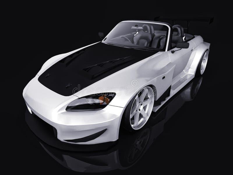 Moderne grijze metaal convertibele sporten Open auto met het stemmen het 3d teruggeven stock illustratie