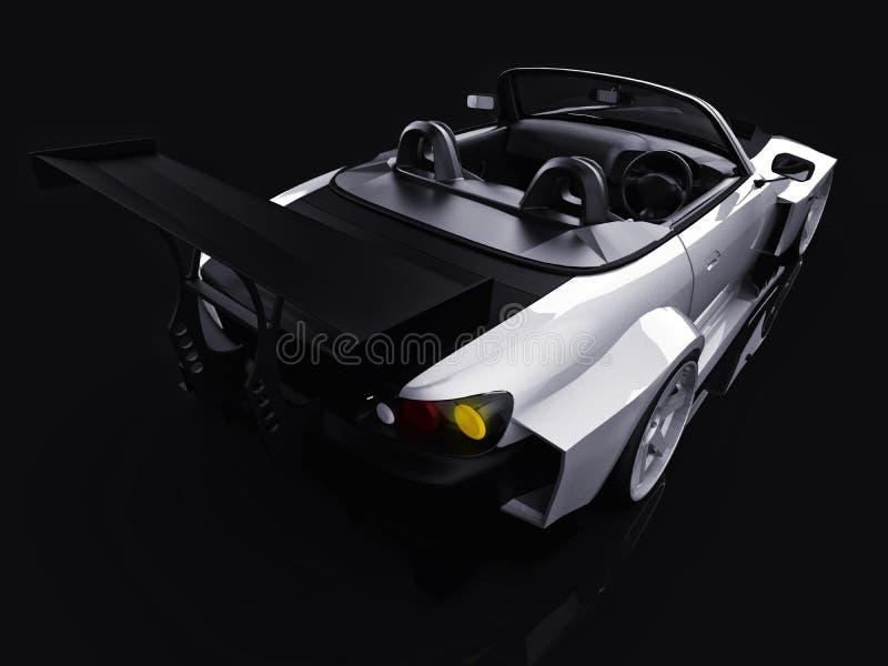 Moderne grijze metaal convertibele sporten Open auto met het stemmen het 3d teruggeven royalty-vrije illustratie