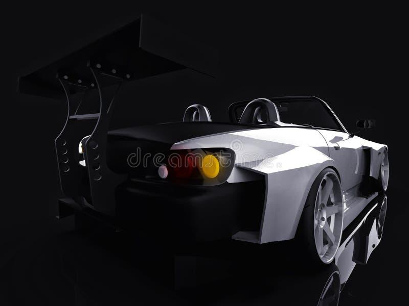 Moderne grijze metaal convertibele sporten Open auto met het stemmen het 3d teruggeven vector illustratie