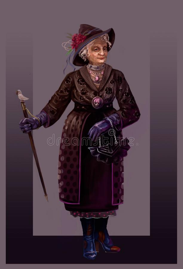 Moderne Großmutter im Alter von lizenzfreie abbildung
