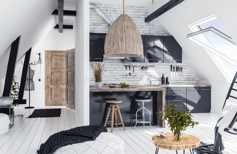 Moderne Großraumwohnung im Dachboden, Dachbodenart stockfotografie