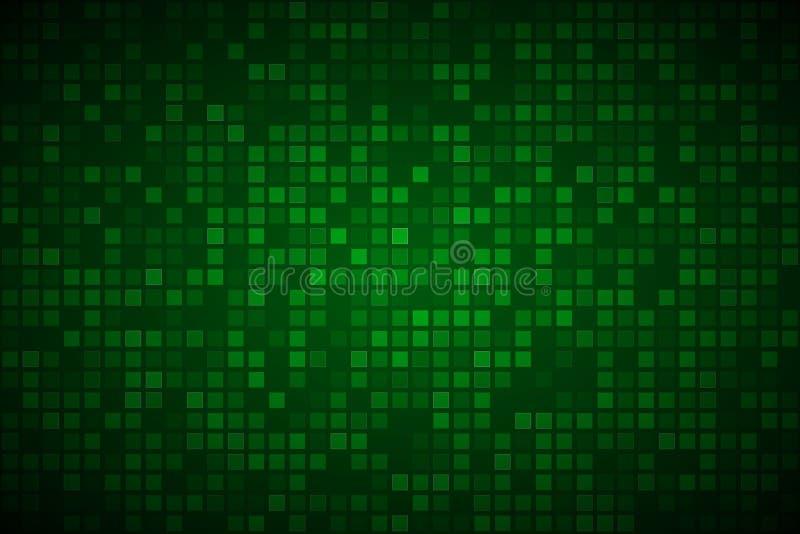 Moderne groene abstracte vectorachtergrond met transparante vierkanten stock illustratie